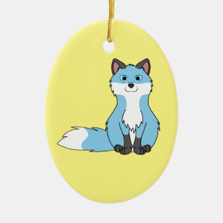 Baby Blue Sitting Fox Kit with Dark Markings Ceramic Oval Decoration