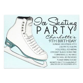 Baby Blue Skate Mates Ice Skating Birthday Party Custom Invites