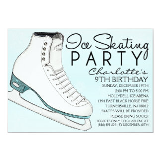 "Baby Blue Skate Mates Ice Skating Birthday Party 5"" X 7"" Invitation Card"