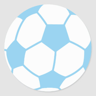 Baby Blue Soccer Ball Classic Round Sticker