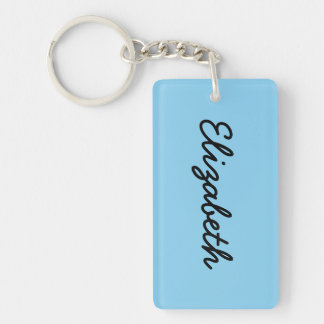 Baby Blue Solid Color Double-Sided Rectangular Acrylic Key Ring