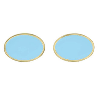 Baby Blue Solid Color Gold Finish Cufflinks