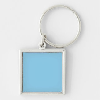 Baby Blue Solid Color Silver-Colored Square Key Ring