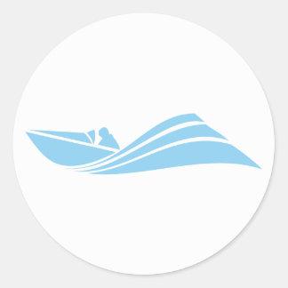 Baby Blue Speed Boat Round Sticker