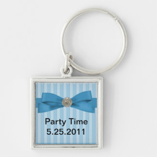 Baby Blue Stripes Elegance Keyring Silver-Colored Square Key Ring