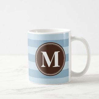 Baby Blue Stripes with Brown Monogram Basic White Mug