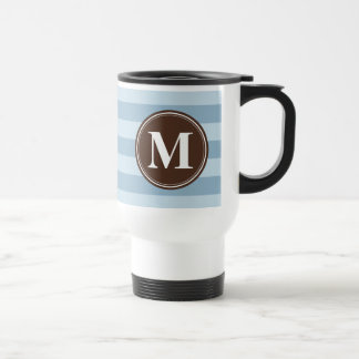Baby Blue Stripes with Brown Monogram Stainless Steel Travel Mug