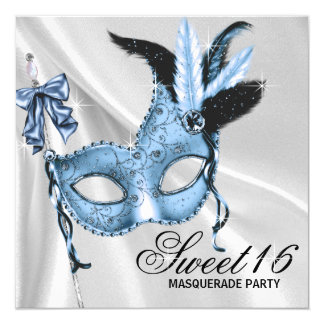 Baby Blue Sweet 16 Masquerade Party 13 Cm X 13 Cm Square Invitation Card