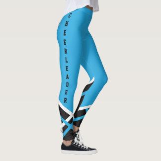 Baby Blue, White and Black Cheerleader Leggings