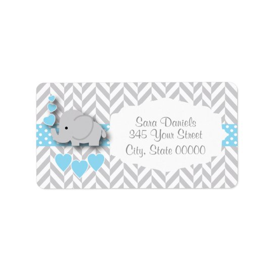 Baby Blue, White and Grey Elephant Baby Shower Address Label