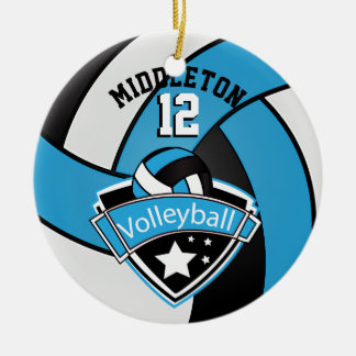 Baby Blue, White & Black Personalize Volleyball Christmas Ornament