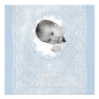 Baby Blue White Boy Photo Baptism Christening 13 Cm X 13 Cm Square Invitation Card