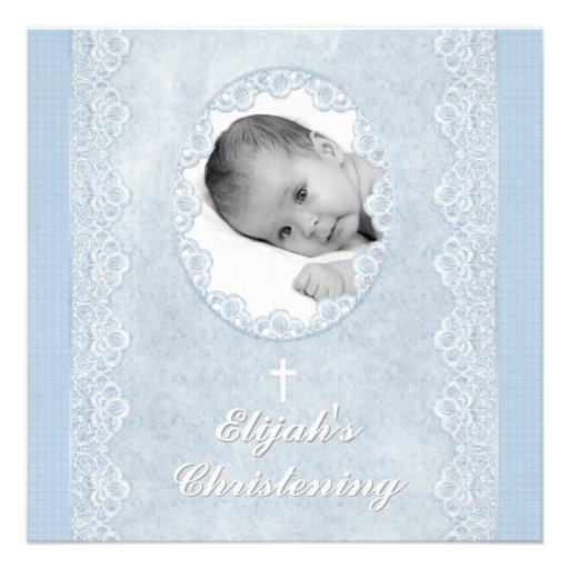 Baby Blue White Boy Photo Baptism Christening Invitations