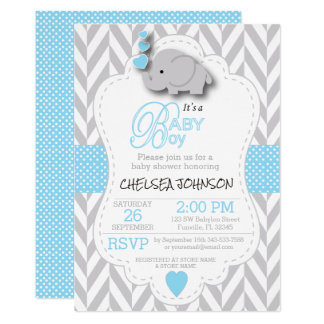 Baby Blue, White Gray Elephant Baby Shower Card