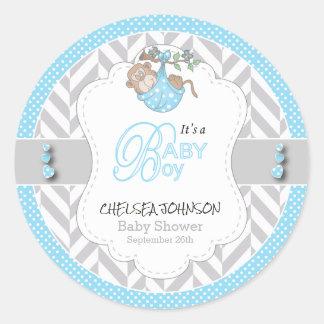 Baby Blue, White Gray Monkey Baby Shower Round Sticker