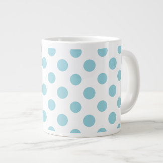Baby Blue White Polka Dots Pattern Large Coffee Mug
