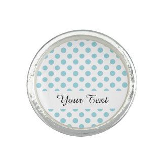 Baby Blue White Polka Dots Pattern Rings