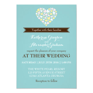 Baby Blue White Small Hearts Wedding Invitation