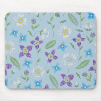 Baby Blue with Floral Stitching Mouse Mat