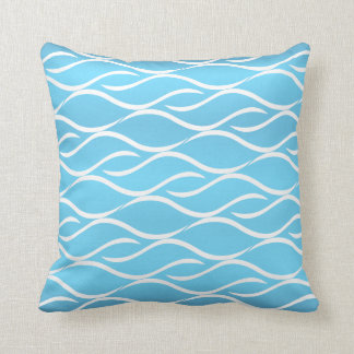 Baby Blue with White Curvy Pattern Design Throw Pillow