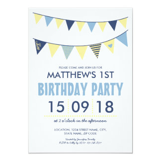 BABY BLUE YELLOW COUNTRY BUNTING BIRTHDAY 13 CM X 18 CM INVITATION CARD