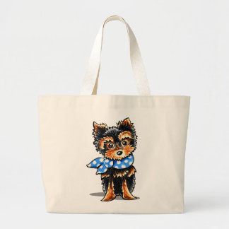 Baby Blue Yorkie Large Tote Bag