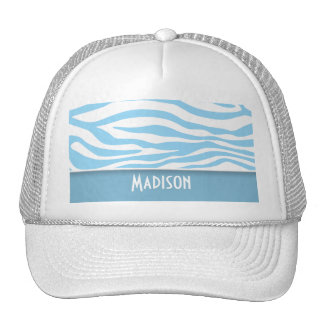 Baby Blue Zebra Animal Print; Personalized Trucker Hat
