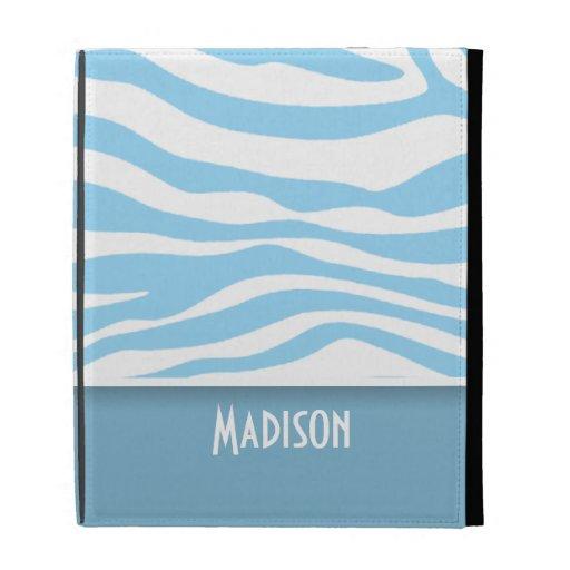 Baby Blue Zebra Animal Print; Personalized iPad Folio Cases