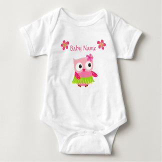 Baby Bodysuit Owl, Tropical Flowers, Personalize