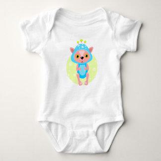 Baby Bodysuit with cute pet in mushroom costume.