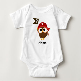 Baby Bodysuit with Owl Pirate Can Personalize