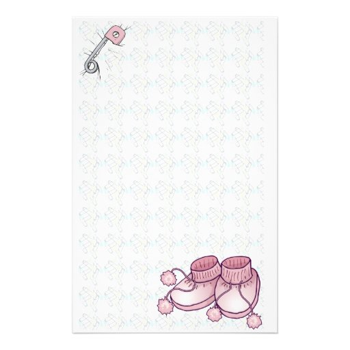 Baby Bootie Pink Stationery