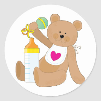 Baby Bottle And Bib Classic Round Sticker
