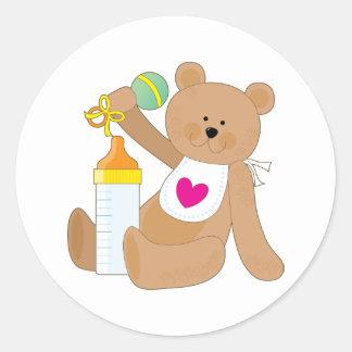 Baby Bottle and Bib Round Sticker