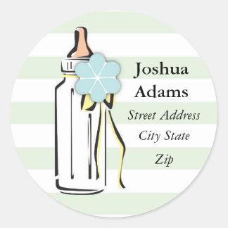Baby Bottle- Boy Address Label Round Sticker