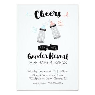 Baby Bottle Cheers Gender Reveal Card