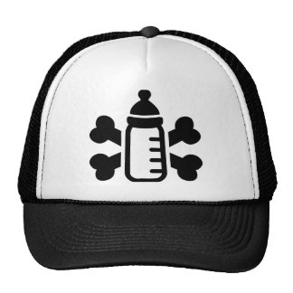 Baby bottle crossed bones mesh hats