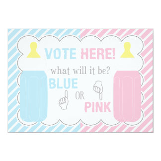 Baby Bottle Gender Reveal Voting Table Sign 13 Cm X 18 Cm Invitation Card