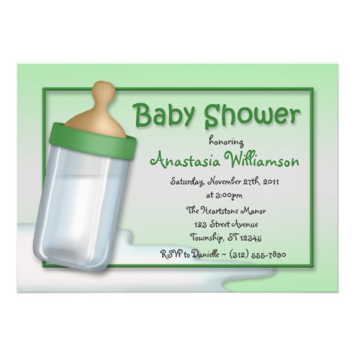 Baby Bottle Green Baby Shower Invitations