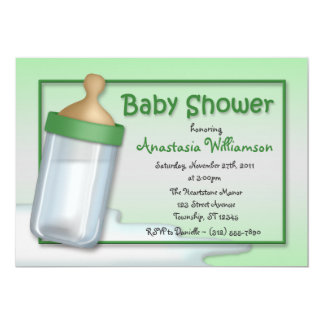 Baby Bottle Green Baby Shower Invitations