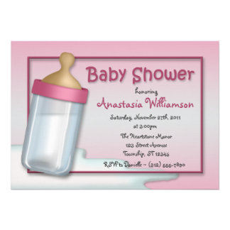 Baby Bottle Pink Baby Shower Invitations