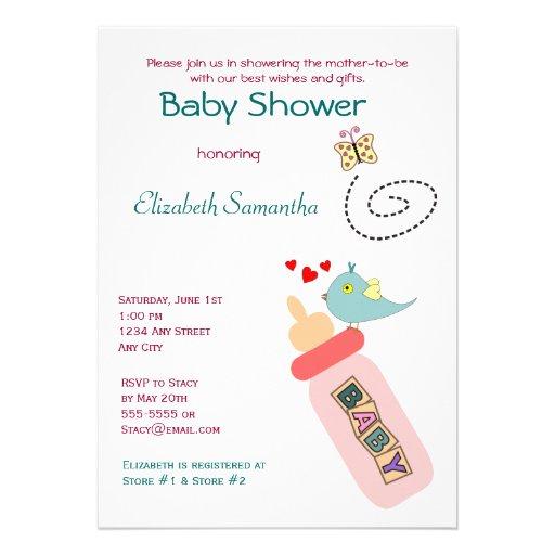 Baby Bottle Pink Shower Invitation