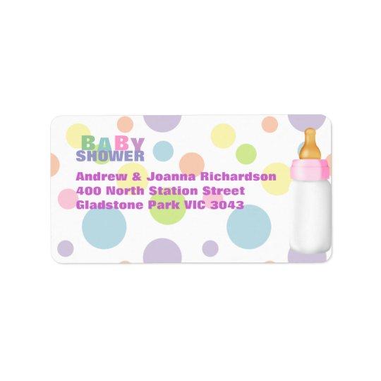 Baby Bottle & Polka Dots Baby Shower Address Label
