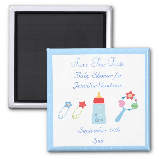 Baby Bottle & Rattle Save The Date Baby Shower Magnet