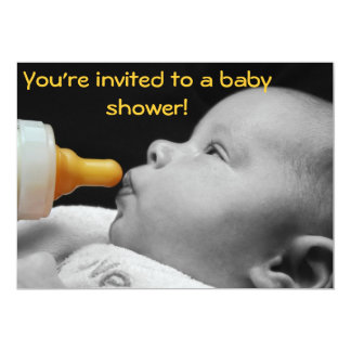 """Baby Bottle: You're invited to a baby shower! 5"""" X 7"""" Invitation Card"""
