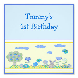 Baby Boy 1st Birthday 5.25x5.25 Square Paper Invitation Card