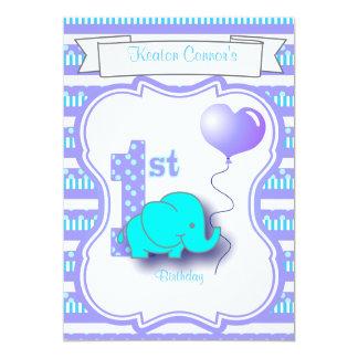 Baby Boy 1st Birthday Party 13 Cm X 18 Cm Invitation Card