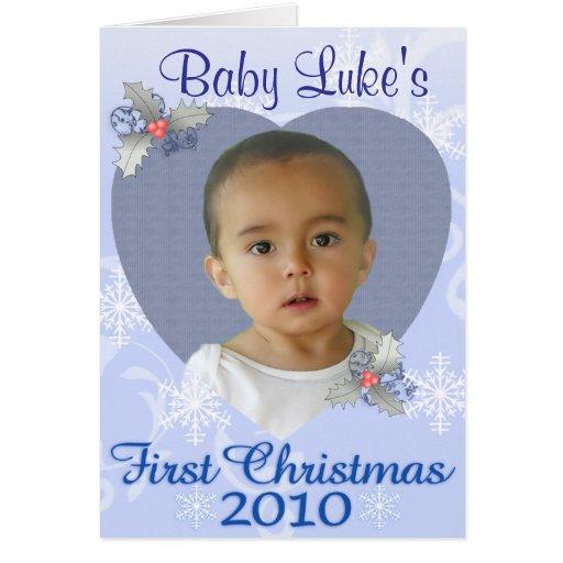 Baby Boy 1st Christmas Card | Zazzle: zazzle.co.uk/baby_boy_1st_christmas_card-137690211463554869