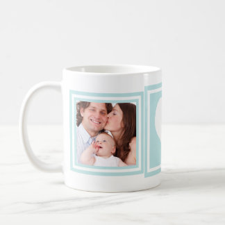 Baby Boy 2 Photos and Heart Blue Basic White Mug