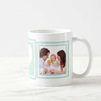 Baby Boy 2 Photos and Heart Mint Green Basic White Mug